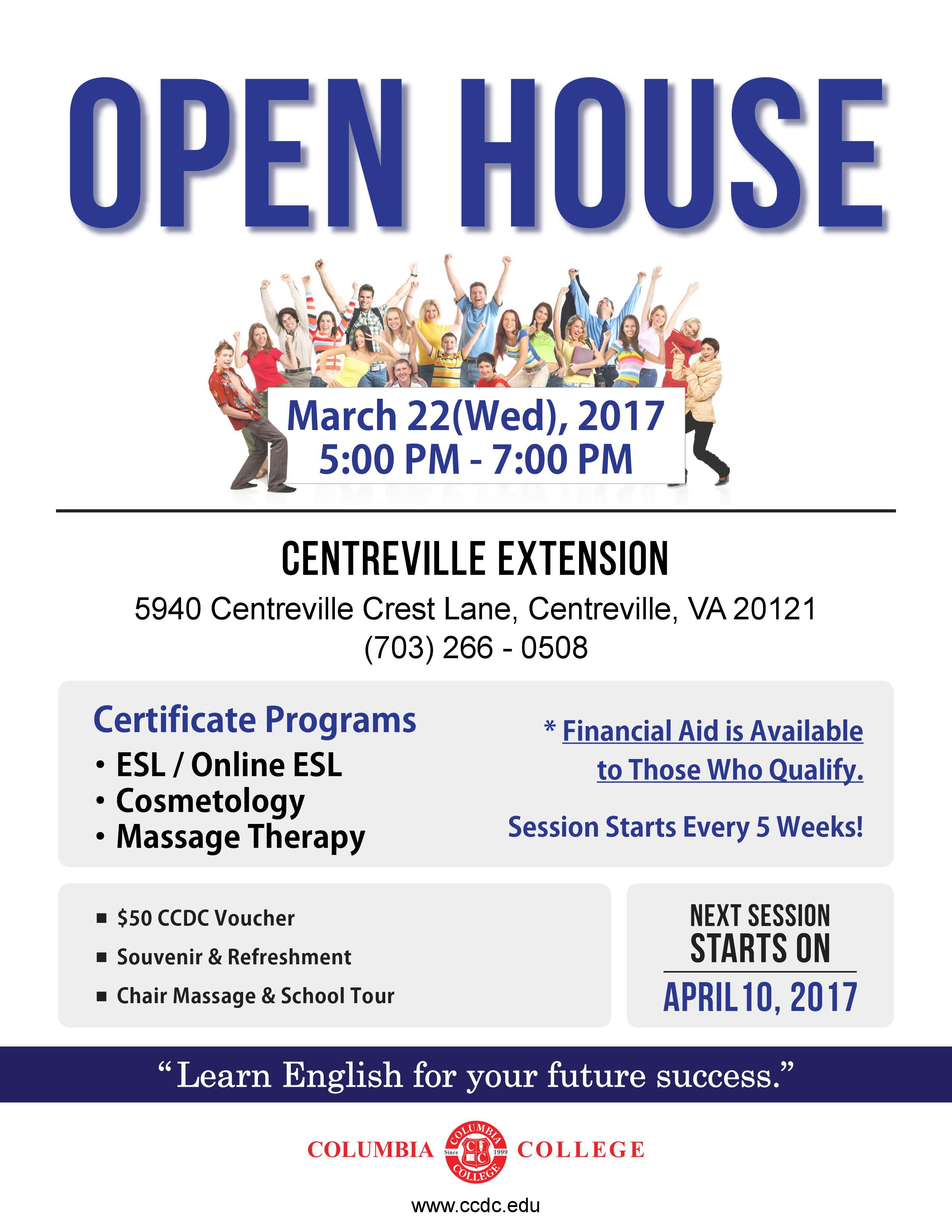 Open House Centreville March 22 Columbia College
